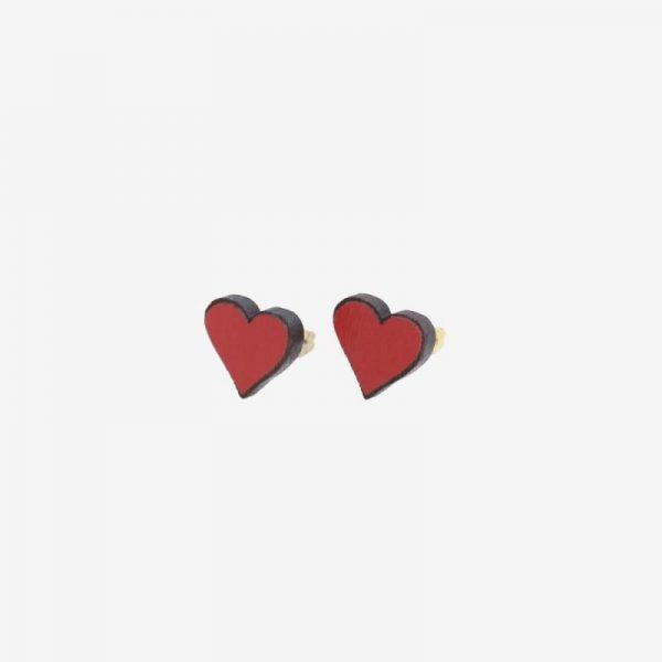 pendientes corazones madera