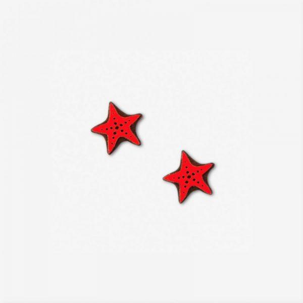 pendientes estrella mar madera