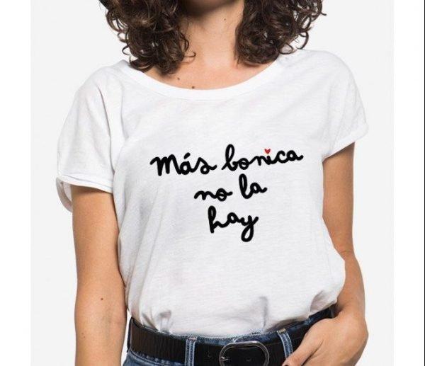 Camiseta mensaje manga enrollada más bonica no la hay